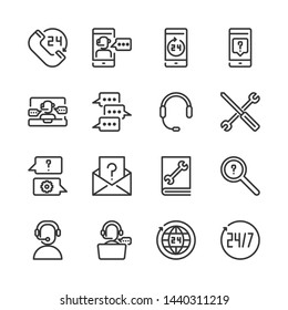 Call center and support icon set.Vector illustration
