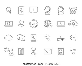 Call center support icons. Vector linear symbols isolate on white. Illustration of helpline linear, microphone and support customer