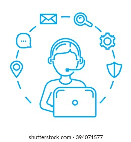 Call center or technical support man operator. Line design vector illustration