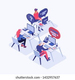 Call center vector isometric illustration. Customer service operators with headset consulting clients, 3d cartoon characters. All-day, around the clock tech support, office workers at workplace