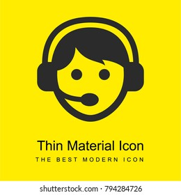 Call center worker with headset bright yellow material minimal icon or logo design