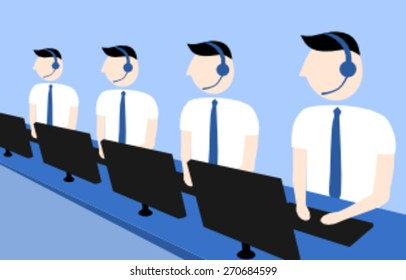 Call center workers in a row
