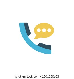 call chat glyph flat vector icon