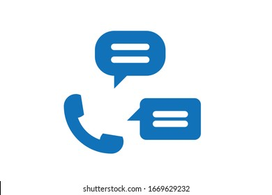 Call chat icon vector on white background blue version