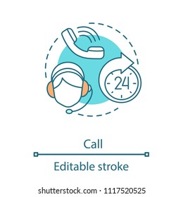 Call concept icon. Hotline idea thin line illustration. Call center. Phone support service. Vector isolated outline drawing. Editable stroke