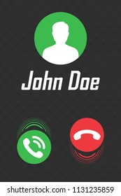 Call display interface for smartphone. Vector illustration.