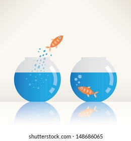 Call to freedom. Fish jumping out of aquarium. Freedom concept.