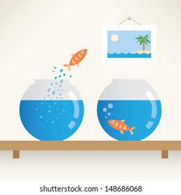 Call to freedom. Fish jumping out of aquarium. Freedom, change and opportunity concept.