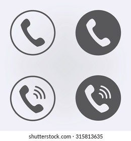 Call icon set in circle . Vector illustration