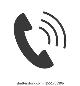 Call icon with telephone in simple vector style