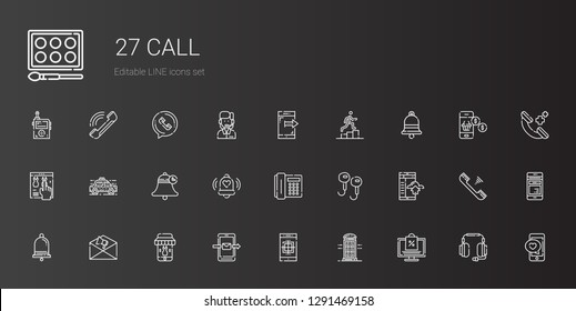 call icons set. Collection of call with online shopping, phone booth, smartphone, notification, earphones, telephone, bell, taxi, online shop. Editable and scalable call icons.