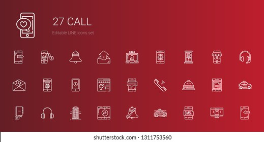 call icons set. Collection of call with smartphone, taxi, bell, phone booth, headphones, contact, reception bell, telephone, online shop, notification. Editable and scalable call icons.