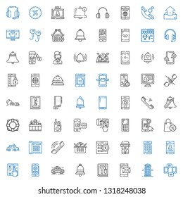 call icons set. Collection of call with smartphone, phone booth, manual, bell, taxi, online shop, online shopping, phone, telephone, promotions. Editable and scalable call icons.