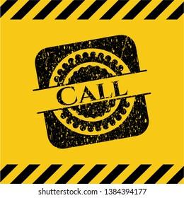 Call inside warning sign, black grunge emblem. Vector Illustration. Detailed.