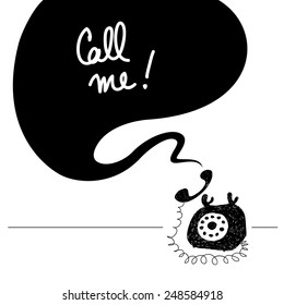 Call me illustration, retro phone sketch, doodle. Old vintage object, speech balloon with message.