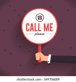 Call Me Please Message Flat Vector Card Design. Hands Hold Signboard Illustration