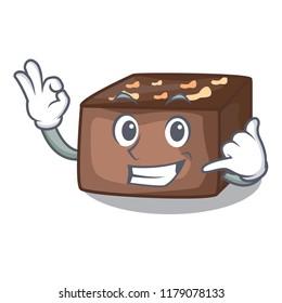 Call me slice almond chocolate cake isolated on mascot