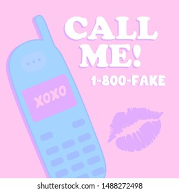 CALL ME, TELEPHONE, KISS SLOGAN PRINT VECTOR