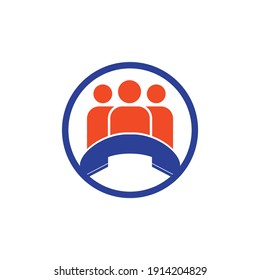 Call people vector logo design. Handset and people icon design.