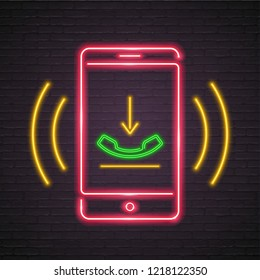 Call Phone Green Neon Light Glowing Vector Illustration Red  Bright with Dark Background