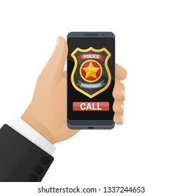 Call police app on smartphone screen. Police badge and emergency call button. Hand holding smartphone with police application on the screen. Vector illustration on white background
