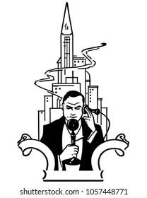 Call From Radio City - Retro Clip Art Illustration