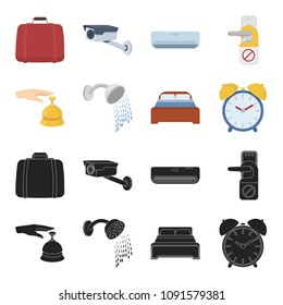 Call at the reception, alarm clock, bed, shower.Hotel set collection icons in black,cartoon style vector symbol stock illustration web.