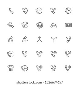 Call and Ring Vector Line Icons. Contains Emergency Call, Worldwide, Ring, Voicemail, Dialpad, Received, Split, Merge, and other telephone.Editable Stroke 2px. Pixel Perfect 48x48.