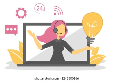 Call service and customer support concept. Business help online and personal assistant. Technical operator give people solution illustration.