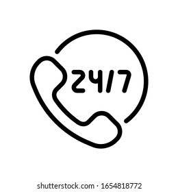 Call or support center, 24 and 7, linear logo, outline design. Black icon on white background
