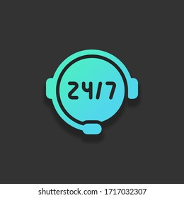 Call or support center, 24 and 7. Colorful logo concept with soft shadow on dark background. Icon color of azure ocean