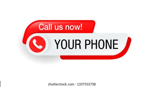 Call us button  - template for phone number in website header  - conspicuous sticker with phone headset pictogram