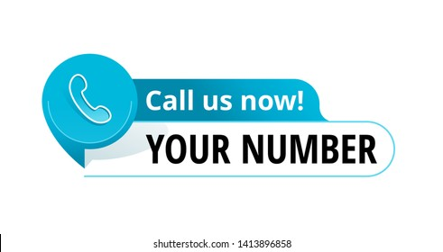 Call us button - template for phone number block in website header  - conspicuous sticker with phone headset pin form pictogram