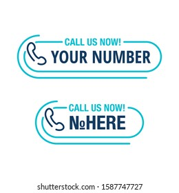 Call us button - template for phone number block in website header  - conspicuous sticker with phone headset pin form pictogram and sample text