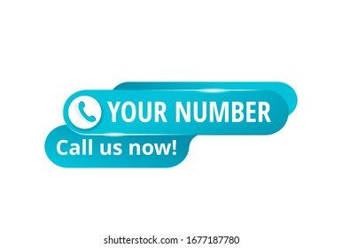 Call us button  - template for phone number place in website header  - catchy blue element with phone headset creative pictogram