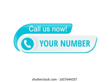 Call us catchy button  - template for phone number place in website header  - conspicuous sticker with phone headset pictogram