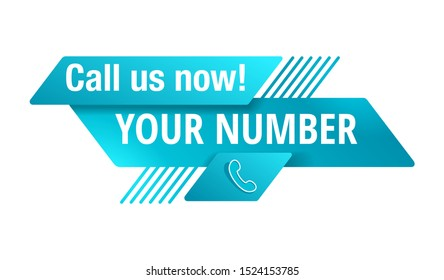 Call us now blue button  - template for phone number place in website header  - conspicuous sticker with phone headset pictogram