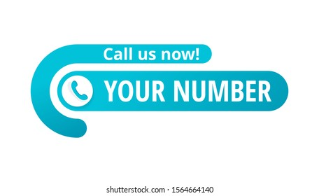 Call us now! Creative button  - template for phone number place in website header  - conspicuous sticker with phone headset pictogram