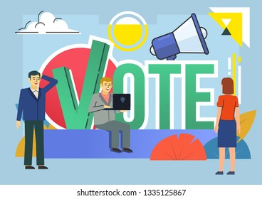 Call to vote, election campaign. People stand near big vote word. Poster for social media, web page, banner, presentation. Flat design vector illustration