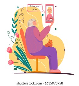 Call your mom. Cartoon illustration for mother's day. Elderly woman sits on bench, holds smartphone. Cat lies on the grandmother's lap. Video link, talk, chat with daughter. Senior woman with phone