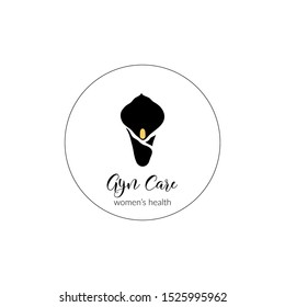 calla lily flower logo template; round, black silhouette on white, elegant, stylish identity / graphic design element for women's health clinic, also beauty salon, cosmetic company, organic shop