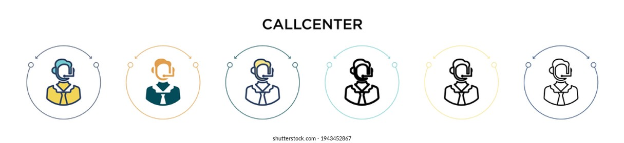 Callcenter icon in filled, thin line, outline and stroke style. Vector illustration of two colored and black callcenter vector icons designs can be used for mobile, ui, web