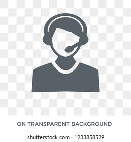 Callcenter icon. Trendy flat vector Callcenter icon on transparent background from Professions collection.