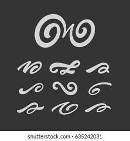 Calligraghic design elements set. Hand drawn decorative vector brush swirls collection.