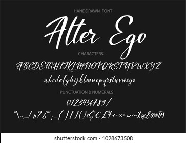 Calligraphic alphabet. Vector handdrawn letters. Typography alphabet for your designs: logo, typeface, web banner, card, wedding invitation.