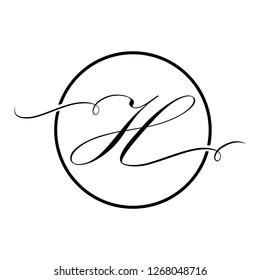 Calligraphic, black script letter h