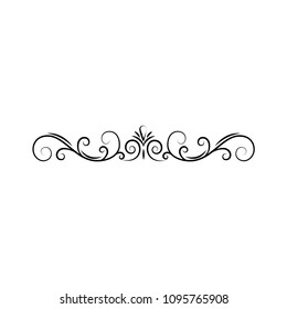 Calligraphic border, page decoration. Swirls, filigree scroll. Design element. Vector illustration.