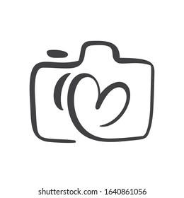 Calligraphic brush camera with heart graphic design concept, logo vector set. Valentine card graphic photo icon.