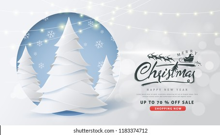 Calligraphic Christmas lettering and Santa claus sleigh Reindeers on snowy landscape background .Winter vector illustration template.