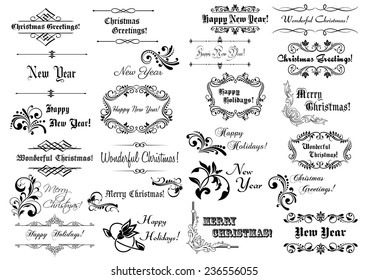 Calligraphic Christmas  or New Year frames and borders with greetings for holiday design